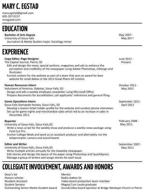 Mary Egstad Resume